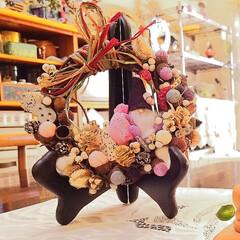 ナンキンハゼ/リース/手作り/クリスマス2019/リミアの冬暮らし/ハンドメイド/... 手作りリース どんぐりの帽子にちりめん布…