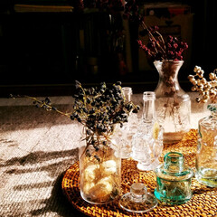 レトロ/ガラス瓶/雑貨/暮らし 小さめガラス瓶。 最近はグリーンなのがお…