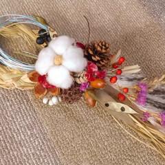 正月飾り/玄関/ハンドメイド/雑貨/ナチュラル/ドライフラワー/... 少し小さめお飾り… こちらも、四つ編みの…(1枚目)