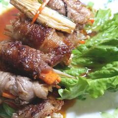 手作り/花/植物/水栽培/チューリップ/おうちごはん/... ♡おうちごはん ♡牛肉の野菜巻き(人参・…