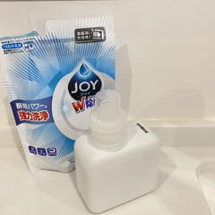 ハイウォッシュジョイ W除菌 食洗機専用洗剤 つめかえ用 490g | ジョイ(食洗器用洗剤)を使ったクチコミ「食洗機洗剤入れは セリアで購入したボトル…」(1枚目)