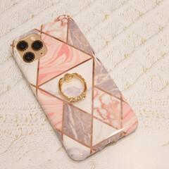 大理石柄/携帯カバー/簡単/雑貨/おしゃれ/暮らし/... 新調した携帯カバーが可愛すぎて かなりの…