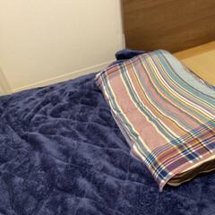 寝室/購入品/ふわふわ/冬仕様/冬使用/敷きパッド/... 敷きパッド、冬仕様に替えました🙌🏻💕 色…