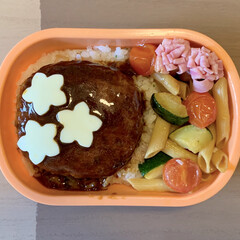 手抜き弁当/ペンネ/ハンバーグ弁当/お弁当/LIMIAごはんクラブ 今日のおべんと。  ・バターライス ・チ…