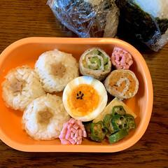 野菜の肉巻き/おにぎり弁当/LIMIAごはんクラブ/お弁当/暮らし 今日のおべんと。  ・ごまおにぎり⭐️ …(1枚目)