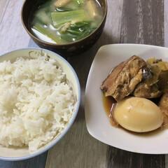 圧力鍋/小松菜/豚の角煮/共働き夫婦/共働き/ふたりごはん/... 【今日のふたりご飯】  今日は圧力鍋で豚…