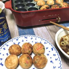 東急ハンズ ブルーノ コンパクトホットプレート レッド   BRUNO(たこ焼き器)を使ったクチコミ「【今日のふたりご飯】  1週間の締めくく…」