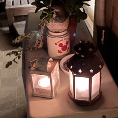 ハロウィン/ランタン/バルコニー/ベランダガーデン/IKEA/雑貨/... ベランダで作業するのでランタンに火を灯し…