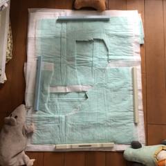 シーズイシハラ 消臭炭シート ダブルストップ レギュラーサイズ 92枚(その他ペット用品、生き物)を使ったクチコミ「ペットシーツパッチワーク 節約! 周りの…」