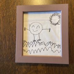 子どもの絵を飾る/子どもの絵をアートに/絵画/インテリア/100均/ダイソー/... こどもが幼い頃に描いた絵を額に入れてみま…