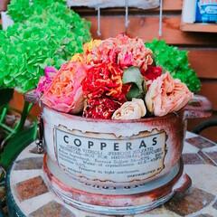 プチプラガーデニング部/ばら/紫陽花/花のある暮らし/リメイク/ドライフラワーアレンジ/... 自作のリメ鉢に自作のドライフラワー🌹🌹🌹