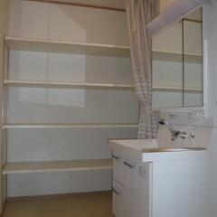 洗面収納/壁一面収納/壁一面の洗面所収納/ビニールカーテンで湿気対策/すごい収納量/すごい収納量の洗面収納 洗面所には壁面フル収納作りました。 可動…