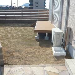 庭/芝生/芝生のお庭/ウッドデッキ/ウッドデッキと芝生/目隠しフェンス 庭には芝生を植えました。 LDKからウッ…