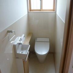 タンクレストイレ/サティス/カウンター付手洗い/コフレル/キッチンパネル腰壁/キッチンパネル腰壁トイレ タンクレストイレで空間が広くなる。 カウ…