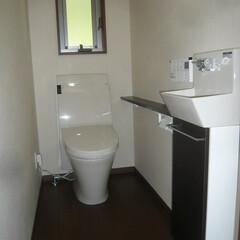 カウンター付手洗い/トイレ カウンター付手洗いがあるトイレ。