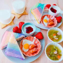 バーバパパ カラーラップ(食品用ラップ)を使ったクチコミ「4/14 朝ごはん   ☑️ヨーグルト(…」