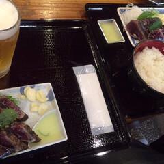 ひろめ市場/高知県/春のフォト投稿キャンペーン/GW/至福のひととき/おでかけ 鰹のタタキ!美味しい!藁の香りがほんのり…