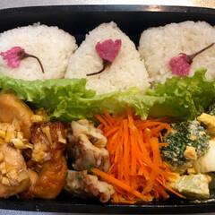 おにぎり/おむすび/桜の花の塩漬け/夫弁当/お弁当/春のフォト投稿キャンペーン/... たまーに 作る お弁当❁ 桜の塩漬けおむ…