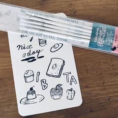 イラスト/絵/水彩/筆 水彩用に細〜い筆を買ってみました❣️ 手…