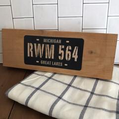 IKEA イケア ELLY キッチン クロス ホワイト ブルー 4枚セット 20172444 | イケア(その他キッチン、日用品、文具)を使ったクチコミ「DIYの木材が余ると、飾り板にすることが…」(1枚目)