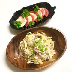 カプレーゼ/和風パスタ/晩ご飯/料理/簡単 今日の晩ご飯 は、 ✴︎和風パスタ …