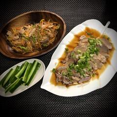 チャプチェ/時短料理/圧力鍋/焼豚/晩ご飯/おうちごはん/... 今日の晩ご飯 は、 ✴︎焼豚 葱のせ …