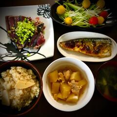 カツオのたたき/鶏肉と大根煮/リメイク料理/鯖の塩焼き/筍ご飯/料理 今日の晩ご飯 は、 ✴︎筍ご飯 ✴︎…