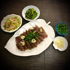 料理/今日の晩ご飯/初鰹/春菊/水菜/おうちご飯 今日の晩ご飯 は、頂き物の✴︎初鰹✴︎ …