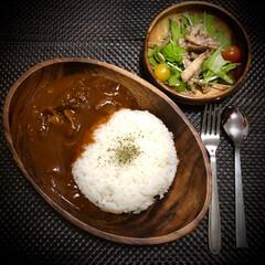 ハヤシライス/余り物サラダ/おうちごはん/晩ご飯/料理 今日の晩ご飯 は、 ✴︎ハヤシライス ✴…