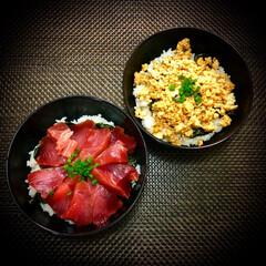 丼物/晩ご飯/料理 今日の晩ご飯 は、 まぐろ丼・鶏そぼろ丼…