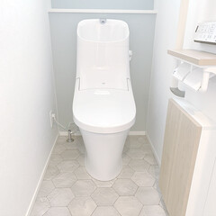 クッションフロア/新築一戸建て/サンゲツ/アクセントクロス/トイレ/令和元年フォト投稿キャンペーン/... 2Fトイレ。 ブルーグレーのアクセントク…