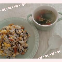 簡単スープ/創味シャンタン/炒飯/ひじきの煮物/冷凍作り置き/朝ごはん/... 朝ごはんの材料がなにもないー 最近買い物…