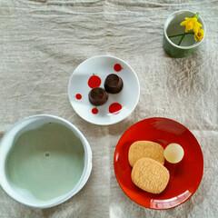 青汁/水仙/ティータイム/漆器 抹茶オレではなくて 青汁オレです(ノ´∀…
