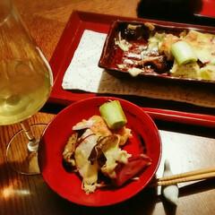 漆器のお皿/ワイン/住まい 今日の一品 ねぎ、きのこ、赤かぶ、里芋の…