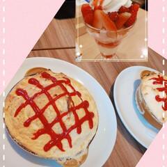 イチゴ/オムライス/ピンク/おでかけ/暮らし 昨日は友達とランチ(∩´∀`∩)♡ オム…