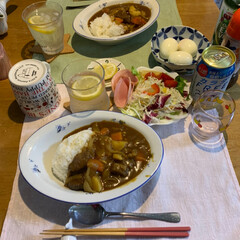 LIMIAファン/ふたりごはん/野菜ごろごろのカレー/今日の晩ご飯/フォロー大歓迎 今日の夕飯  サラダ ビーフカレー   …