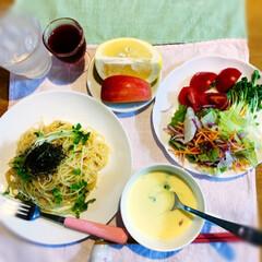LIMIAファンクラブ/たらこクリームスパゲッティ/ひとりごはん/お家ごはん/フォロー大歓迎 今日の夕飯  ・たらこクリームスパゲッテ…