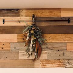 インテリア/DIY/SundayDIYer/アイアン家具/西海岸スタイル/古材/... DIY壁です!古材を貼ってオーダーしたア…