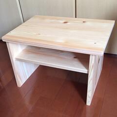 サイドテーブル/横置き/集成材/ヒノキ/ミニテーブル/机/... ヒノキの集成材で作ったパソコン用のミニテ…