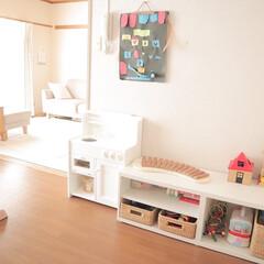 おもちゃスペース/おもちゃ収納/子どもの作品/インテリア/シンプルインテリア/収納 娘の作品コーナー 幼稚園が始まらないので…