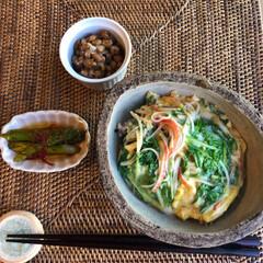 卵とじ/丼/アスパラ/水菜/maiikkoo/至福のひととき/... おはようございます😃  今日の朝ごはんは…