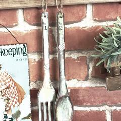 木製/スプーン&フォーク/リメイク雑貨/100均/ダイソー/インテリア/... 数年前にDAISOで買った木製スプーン&…