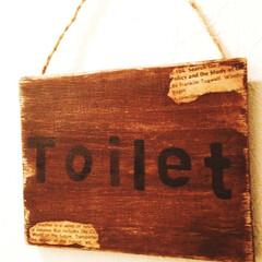 サインボード/フォロー大歓迎/ハンドメイド/DIY/雑貨/インテリア/... 以前、端材で作ったサインボード。トイレの…