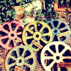 ガーデン雑貨/リメイク/車輪/ウィール/ガーデンウィール/雑貨/... 以前リサイクルショップにて何個かゲットし…