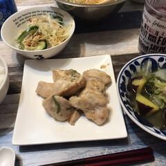 夕飯/鶏肉/鶏の胸肉/さっぱりメニュー/さっぱりおかず/おうちごはん お腹の調子が悪かった長男と自分のために、…