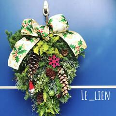 クリスマススワッグ/フォロー大歓迎/クリスマス/ハンドメイド/インテリア/住まい 去年、ネイチャークラフトの作家さんにオー…