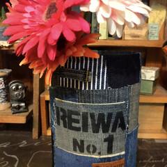 REIWA/令和/リメ缶/デニムリメ缶/デニム/粉ミルク缶リメイク/... 私のお気に入りREIWAシリーズの作品で…
