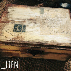 木箱リメイク/木箱/100均/キャンドゥ/インテリア/DIY/... キャンドゥの蓋付木箱をリメイクしたもので…