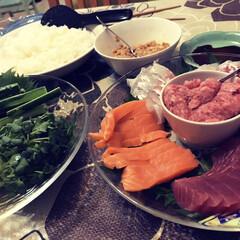 手巻き寿司パーティー/手巻き寿司/フォロー大歓迎/LIMIAごはんクラブ/おうちごはんクラブ/わたしのごはん 昨日はみんな大好き手巻き寿司パーティー🍣…