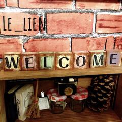WELCOME/welcomeオブジェ/工作材/工作材料/100均/ダイソー/... ダイソーの工作材料をペイントして、WEL…